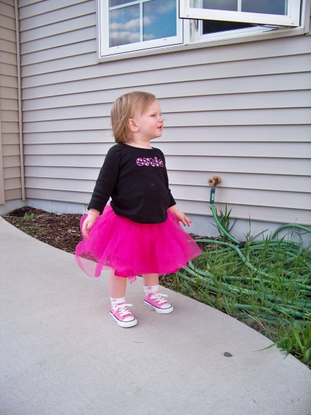 Gracie in tutu and shoes