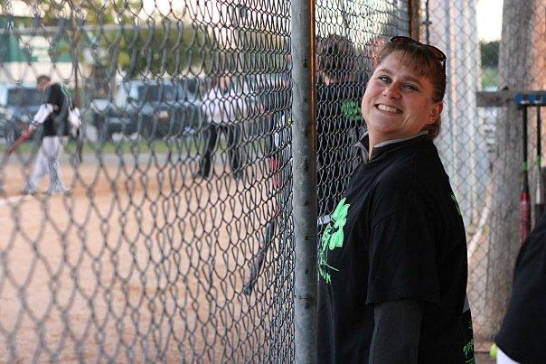 Jen grinning