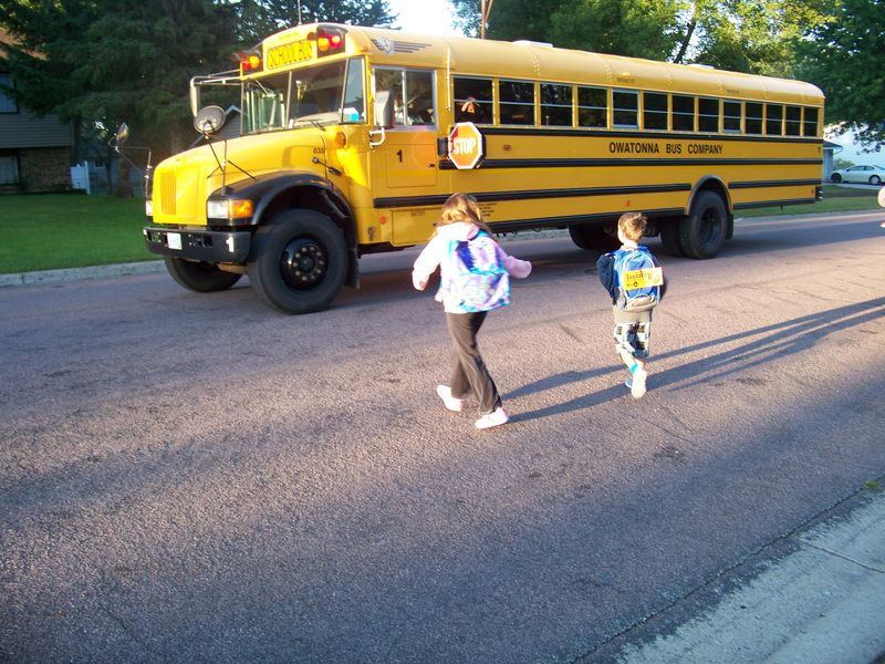 1st day of School getting on the bus